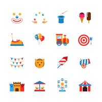 Icone del parco di divertimenti piatte