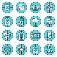 Iconos de protección de datos línea azul