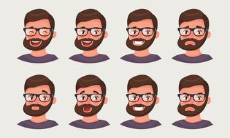 Cute hipster businessman showing different emotions. A bearded man office worker emoji.