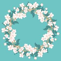 Cherry blossom round pattern on blue turquoise background vector