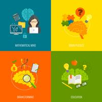 Icone del cervello piatte