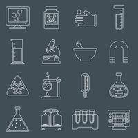 Laboratory equipment icons outline