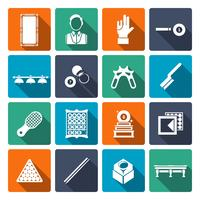 Billar iconos planos conjunto