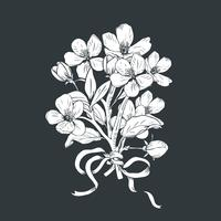 Árvore de florescência. Entregue o ramalhete botânico tirado dos ramos da flor no fundo preto. Ilustração vetorial