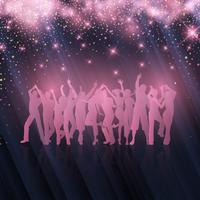 Party crowd on starry background