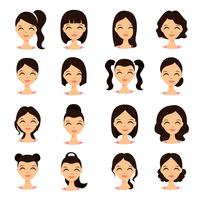 Young pretty women pretty faces with different hairstyles. Cartoon beautiful girl flat style.