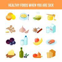 Hälsosam mat ikon platt