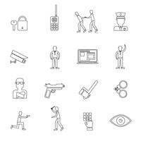 Security Guard Outline Icons