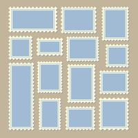 postage stamps different size in blue and white