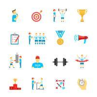 Coaching sport icons set