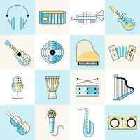 Musical instruments flat line set