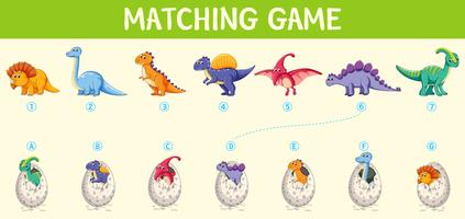 Matching dinosaur number worksheet vector
