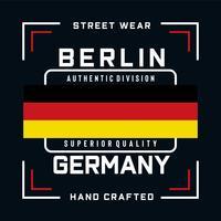 camiseta auténtica del diseño de la tipografía de la división de Berlín