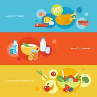 Conjunto de banner plano de alimentación saludable