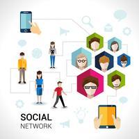 Conceito de rede social vetor