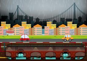 En stor modern stad som regnar