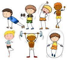 Un ensemble d'exercices doodle kids