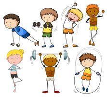 Un conjunto de ejercicio de niños doodle