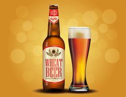 Diseño de publicidad de cerveza. Plantilla del cartel para el diseño clásico del paquete del anuncio de la cerveza blanca.