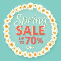 Spring sale banner with daisy chain and text on vintage blue background.