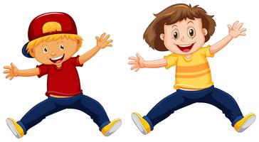 Boy and girl jumping up