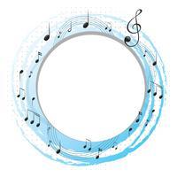 Runder Rahmen mit Musiknoten auf Skalen