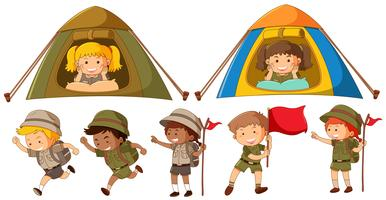 Many kids in safari outfit running and camping in tent