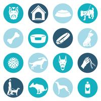Dog icons white vector