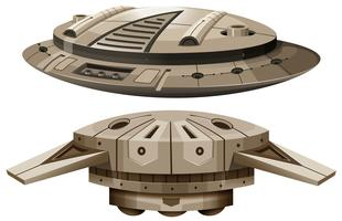 Two designs of spaceships vector