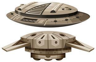 Dos diseños de naves espaciales.