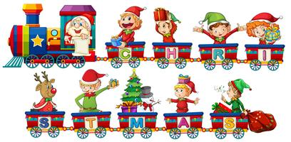 Christmas train on white background vector