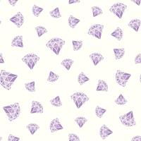 Seamless pattern of geometric purple pink diamonds on white background. Trendy hipster crystals design.