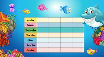 Days of the week table with underwater background vector