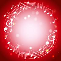 Border template with musicnotes on red background