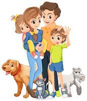 Familie mit zwei Kindern und Haustieren
