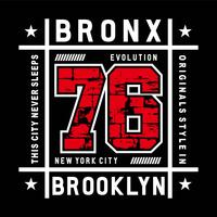 bronx evolution typografi vektor illustration för t-shirt