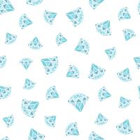 Seamless pattern of geometric blue diamonds on white background. Trendy hipster crystals design.