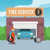 Póster de servicio de neumáticos