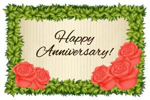 Happy anniversary card template with red roses