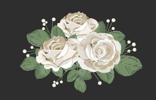 Retro bouquet design. White roses with leaves and berry on black background. Tender floral vector illustration in vintage watercolor style.