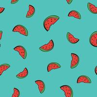 Naadloze patroonachtergrond met watermeloenplak