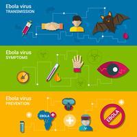 Banners planos del virus del ébola