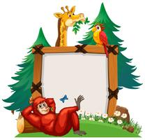 Board template with cute animals in zoo