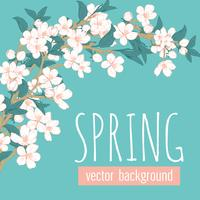 Branches with flowers on blue turquoise background and sample text Spring. Floral card template. Vector illustration.