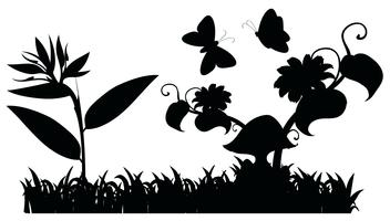 Escena de jardín silueta con mariposas vector