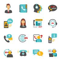 Conjunto de ícones de centro de chamada de contato de suporte