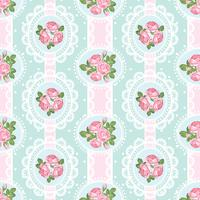 Shabby chic rose seamless pattern on polka dot background