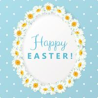 Happy easter card. Chamomile egg shape frame on blue polka dot background