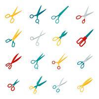 Iconos de tijeras planas