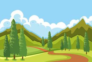 A flat mountain road landscape